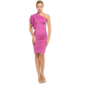 Linemart Women Sexy Oblique Collar One Shoulder Solid Pleated Party Cocktail Dress ( Purple ) - intl