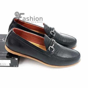 Giày Mọi Nam Đơn Giản Da Thật Da In Vân Cá Sấu GM242 (Đen)