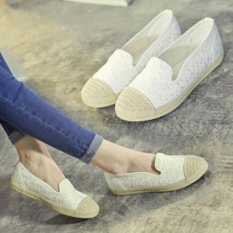 Giày lười da đế cói thêu sao - GiayKS - LTS001 (trắng)