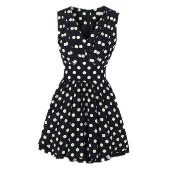 Fancyqube Summer Chiffon Dress Women Polka Dot Fold Slim V-neck Sleeveless Back Zipper Dress Black