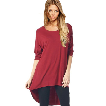 Fancyqube Seven Minutes Before The Short Back Long T-shirt Burgundy (Intl)