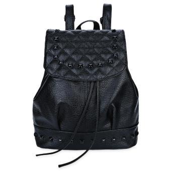 Trendy Rivet Plaid Bucket Shape Drawstring Portable Backpack for Women - intl