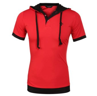 Cyber COOFANDY Men Fashion Casual Slim Short Sleeve Patchwork Hooded Polo Shirt (Red) - Intl