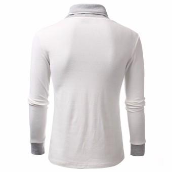 Fashion Men Long Sleeve Casual V-Neck Polo Shirts (Intl)
