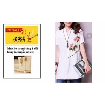 Áo Sơ Mi In Hoa Sander TRẮNG W3375TRANG + tặng 1 đôi bông tai (ngẫu nhiên)
