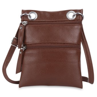 Double Zippers Shoulder Messenger Bag Solid Color Ladder Lock Women(Deep Brown) - intl