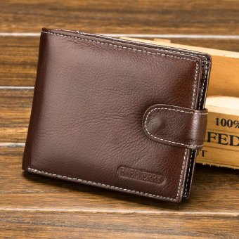 Cow Leather Men Business Wallet 100% Genuine Leather Wallets for Men Short Coin Purse with Pocket Male Card Holder - intl