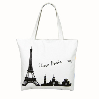 Canvas Tower House Pattern Shopping Shoulder Bags Women Handbag Beach