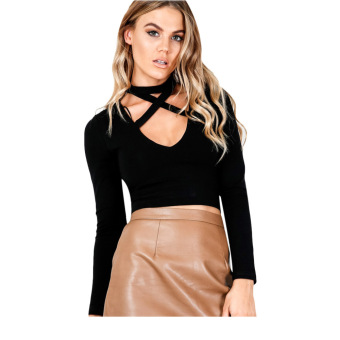 Sexy V-neck Criss-cross Bandage Long Sleeve Pure Color Knitted Crop Top for Ladies(Black) - intl