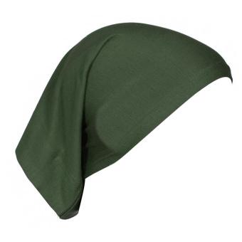 Women Muslim Mercerized Cotton Soft Adjustable Head Wrap Cover Inner Hijab Bonnet Cap Hat Army Green (Intl)