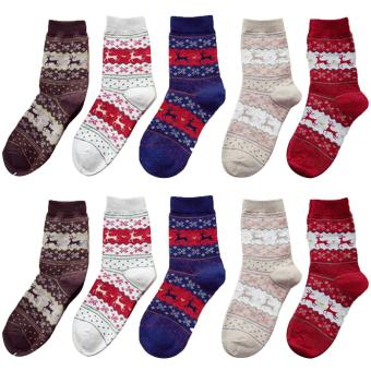 5 Pair of Christmas Elk Style Cotton Thicken Casual Sock Winter Thermal Warm Socks for Women - intl