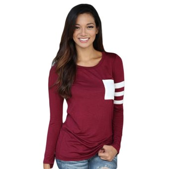 Fancyqube Long Sleeves Shirt Patchwork Stripe Casual Tops (Burgundy) - Intl