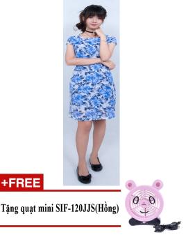 Đầm midi hoa lá cách điệu Korea Zaskin ZA01D9 + Tặng quạt mini shinil SIF-120JJS (Hồng)