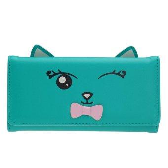 Woman Cat Ears PU Leather Long Wallet (Green) - intl