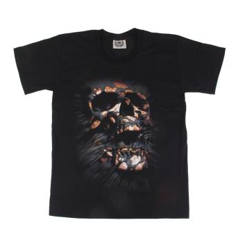 3D Skull Print Black T-shirt XL - intl