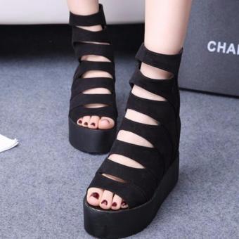 Giày sandal đế xuồng cá tính S060D (Đen)