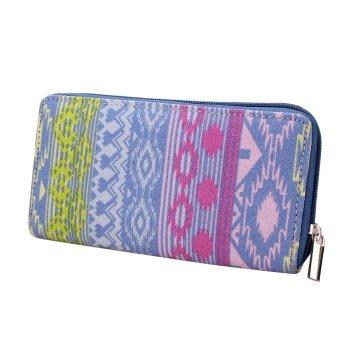 Women Canvas Purse Lady Geometric Print Long Handbag Wallet Bohemia Zip Pocket Blue - intl