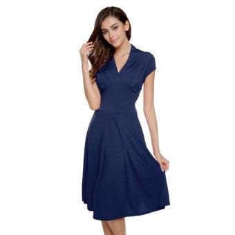 Cyber ACEVOG Stylish Ladies Women Cap Sleeve V-neck Knee-length Casual Party Dress(Navy Blue) - Intl