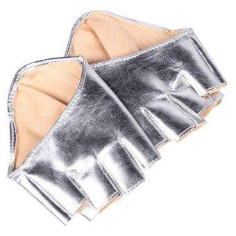 Woman Half Palm and Finger Gloves Imitation Leather Silver (Intl)