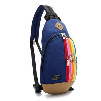 Fashion Rainbow Zip Designed Chest Bag Backpack Dual Use (Blue)