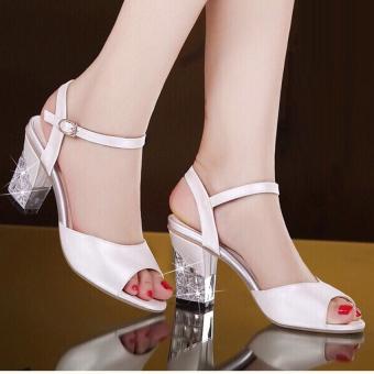 Giày gót vuông đính đá CG207 (Trắng)