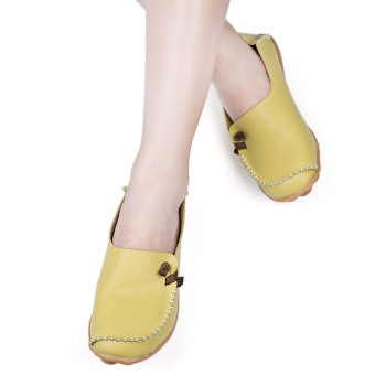 Pure Color Artificial Leather Breathable Flat Shoes(White) - intl