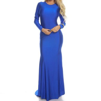 Sexy Women Dress Criss Cross Backless Floor-length Maxi Gown Evening Party Dress (Blue) - Intl