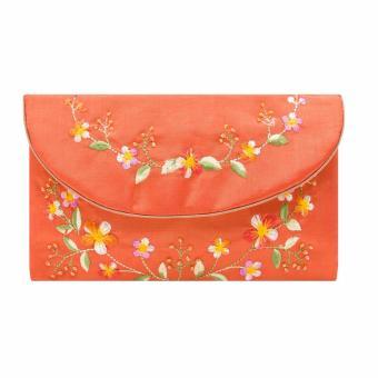 Ví cầm tay nắp thư Hoian Gifts vải lụa thêu hoa (Da cam) HA-51C