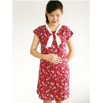 váy bầu thời trang hoa dây nơ chéo