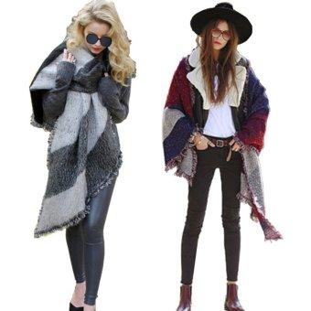 ZANZEA Winter Lattice Grid Warm Shawl Tassel Fashion Scarves - Intl