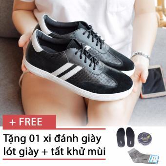 Giày sneaker nam Smartmen SM-06 (Đen), tặng kèm 1 đôi lót giày, 1 đôi tất, 1 hộp xi cao cấp