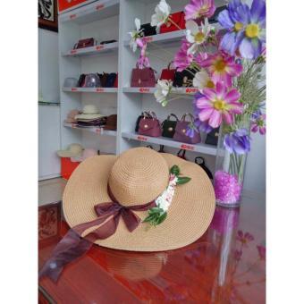 Mũ đi biển kết hoa và dây von điệu đà M80 nâu