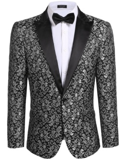 Cyber New Men Casual Slim Fit Long Sleeve Floral Slim Fit Stylish Jacket Blazer ( Grey ) - intl