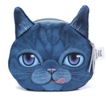 Cute 3D Dog Face Eye Bag Animal Wallet Coin Purse Zip Pouch Clutch Blue - Intl