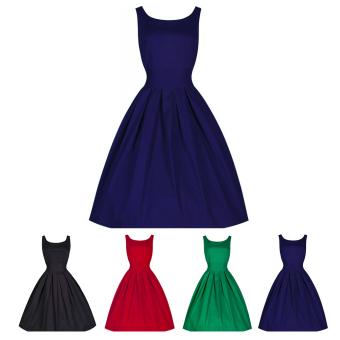 Moonar Women Fashion Elegant Style Sexy Sleeveless Low-cut Thin Slim Waist Tunic Dress Skirt Size S-XXL (Dark Blue) - intl