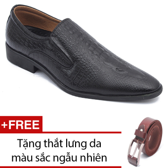 Giày lười công sở dập vân cá sấu SMARTMEN (Đen) GL-186 + Tặng thắt lưng da màu sắc ngẫu nhiên