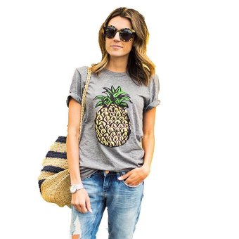Round Neck Pineapple Printing Woman T-shirt - Intl--TC