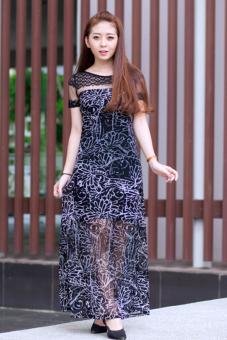 Đầm maxi phối ren Cirino (đen họa tiết)