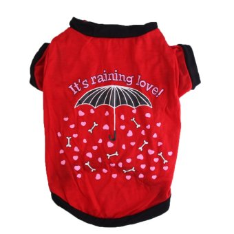 Summer Cute Small Puppy Cat Clothes Umbrella Printed Red T-shirt For Small Pet Dog - intl