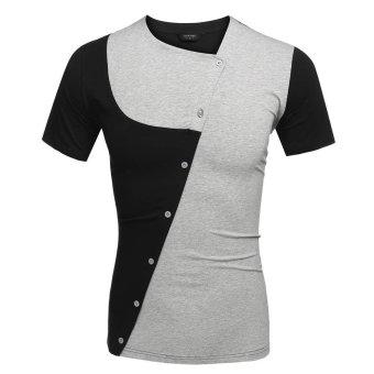 Cyber COOFANDY Men Asymmetrical Collar Short Sleeve Patchwork Contrast Color T Shirt Tops (Grey) - Intl