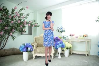 Đầm midi hoa lá cách điệu Korea Zaskin ZA01D9