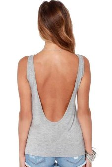 Sexy Deep V Sleeveless Tank Top T Grey