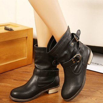 2016 Fashion Women Martin Ankle Boots Round Toe Casual Leather Shoes Slip On Black - intl