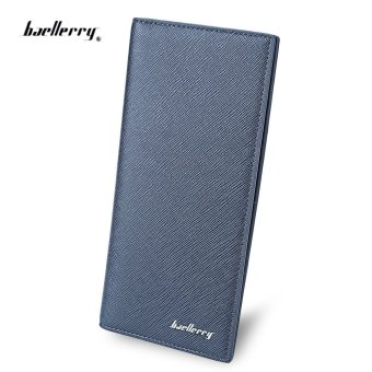 Baellerry Thin Soft Long Vertical Photo Cash Card Wallet Vertical(Blue) - intl