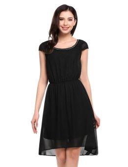 Sunweb Women Casual Decorative Rhinestone Chain Asymmetrical Hem Tunic Chiffon Dress with Lining ( Black ) - intl