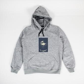 Áo khoác hoodie nữ in hình Moon Climbing (xám nhạt)