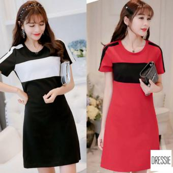 Váy Đầm Suông Đẹp Sọc Cao Cấp DRESSIE - L041B (Đỏ Đen)