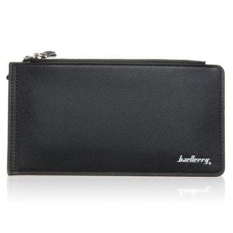 Men Bifold PU Leather Long Wallet Card Holder Purse Checkbook Clutch Coin Bag Black - Intl