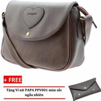 Túi đeo chéo nữ PAPA PPT002 (Màu Nâu) + Ví nữ PAPA PPV001