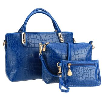 Sunwonder 3PCS Set Women Shoulder Bag Handbag Clutches Casual Synthetic Leather Top-Handle Bags (Blue) - Intl